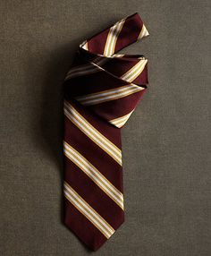 The Great Gatsby Collection Burgundy and Gold Stripe Tie - Brooks Brothers