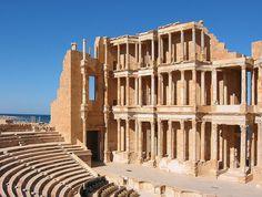 Theatre, Sabratha, Libya.    Roman Theatre, Sabratha, Libya.  The magnificent late 3rd century theatre, that retains its three-storey architectural backdrop,