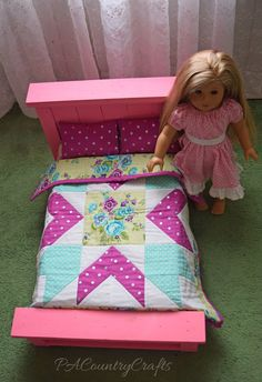 Farmhouse Doll Bed and Star Doll Quilt Pattern — PACountryCrafts American Girl Doll Bed, American Girl Clothes, American Girls, Doll Sewing Patterns, Quilt Patterns Free, Free Pattern, Clothes Patterns, Knitting Patterns, Ag Dolls