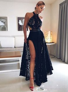 Black lace prom dress - ALine Halter Prom Dresses,Floor Length Prom Dress,Black Prom Dresses,Lace Prom Dress with Split – Black lace prom dress Evening Dress Long, Evening Party Gowns, Black Evening Dresses, Black Prom Dresses, Cheap Prom Dresses, Prom Party Dresses, Simple Dresses, Sexy Dresses, Dress Black