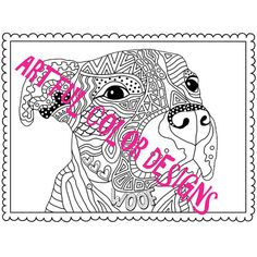 Pit Bull Dog Coloring Page Printable by ArtfulColorDesigns on Etsy