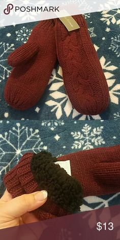 Burgundy mittens adults NWT Beautiful knitted mittens,with faux fur lined inside for extra warmth, one size fits all. Laila rowe  Accessories Gloves & Mittens