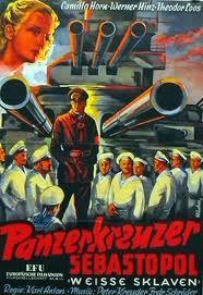 """Goebbels admiraba muchoi """"El acorazado Potemkin"""" de Eisenstein, así que trató de imitar sus técnicas cinematográficas y propagandísticas con """"El acorazado Sebastopol"""". Se quedó a medio camino. Véase la entrada del blog """"Cine Crucial"""" de Víctor Carvajal."""