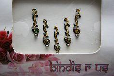 Eyebrow Curly Black Bindi Jewelry and Golden bead