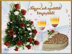 Szeretettel köszöntelek Birthday Name, Happy Birthday, Name Day, Alcoholic Drinks, Table Decorations, Betty Boop, Emoji, Vans, Happy Brithday