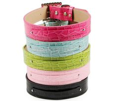 Faux Croc Personalized Two Tier Dog Collar...................available at http://doggyinwonderland.com/item_2281/Faux-Croc-Personalized-Two-Tier-Dog-Collar.htm...............lots of bling!!!