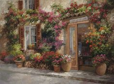painting by Paul Guy Gantner Silk Ribbon Embroidery, Embroidery Art, L'art Du Ruban, Band Kunst, House Landscape, City Landscape, Thread Painting, Garden Painting, Painting Art