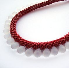 Red Bead crochet rope necklace with white  glass drop ,red accessories ,statement necklaces , beaded seed beads jewelry. $30.00, via Etsy.