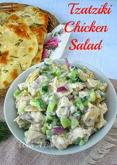 Tzatziki Chicken Salad ~ Alltime favorite low-fat Chicken Salad made quickly and easily {incl link for the Crackers!} #Salad #ChickenSalad