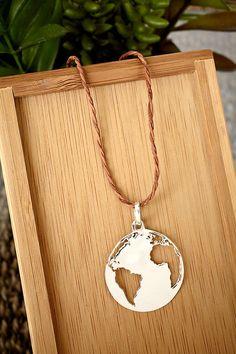 Globe necklace on Etsy