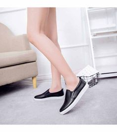Women's #black #SlipOn casual shoe sneakers in plain color, Round toe, casual, leisure, occasions