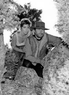 Marianne Koch and Clint Eastwood in Sergio Leone's classic Spaghetti Western and first entry in his Man With No Name series, A Fistful of Dollars (1964) also known as Per un pugno di dollari.