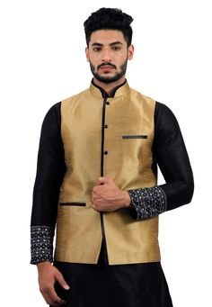 f6b78cfada1 Buy Golden Art Silk Readymade Nehru Jacket 156165 online at lowest price  from our mens wear