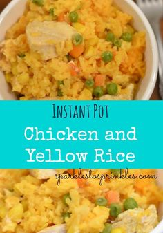 This Instant Pot Chicken and Yellow Rice is a delicious one pot hearty meal. I love to serve it with a side salad for a complete and delicious meal. Pin for later! Pressure Cooker Chicken, Instant Pot Pressure Cooker, Pressure Cooker Recipes, Pressure Cooking, Yellow Rice Recipes, Pollo Tropical Yellow Rice Recipe, Rice Instant Pot Recipe, Chicken And Yellow Rice, Tasty Dishes