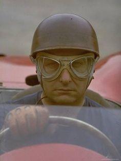 Premium Photographic Print: Argentine Auto Racer Juan Manuel Fangio Sitting at Wheel of Race Car at Las Mans by Howard Sochurek : Sports Car Racing, Auto Racing, Sport Cars, Race Cars, La Mans, Racing Helmets, F1 Drivers, Vintage Race Car, Car And Driver