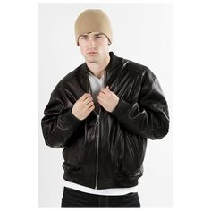 $199, Black Leather Bomber Jacket: Famous Black Leather 8 Ball Bomber Jacket by United Face. Sold by buy.com. Click for more info: http://lookastic.com/men/shop_items/69554/redirect