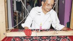 Ramaraju is a figure of determined concentration while weaving a piece of cloth; (left) Sarees on display at the store; (Below) Customers check out the collection