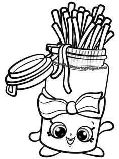 Banana Splitty Shopkins Coloring Page Free