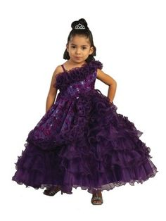 Purple Girls Shoulder Ruffle Organza Ball  Fancy Gown Dress  (Size: 2-8 in 5 colors)
