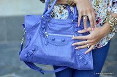 purple Balenciaga motorcycle bag