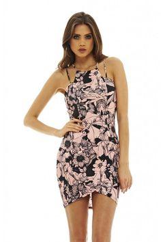 AX Paris Womens Black Double Strap Floral Mini Dress Stylish Ladies Fashion