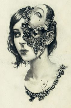 """London-based illustrator Miles Johnston uses graphite pencils to create surreal portraits of girls. """"Entitled 'Transformations', Johnston's ongoing series is divided into four parts: 'Deform', 'Divide',… Art Drawings Sketches, Pencil Drawings, Art Illustrations, Miles Johnston, Photocollage, Arte Horror, Ap Art, Surreal Art, Surreal Portraits"""