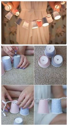 Colorful cup lights DIY I tried these and it's perfect for a fall room deco! Easy Diy Room Decor, Diy Home Decor, Diy Dorm Room, Diy Bedroom Decor, Bedroom Furniture, Craft Projects, Projects To Try, Diy Projects College, Cute Diy Projects