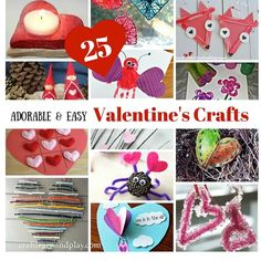 Adorable and easy Valentine crafts that are great for kids of any age. Let's spread love  with creative play. Click for valentine craft ideas and you will find plenty nature inspired crafts but also many of them which promote fine motor skills development.