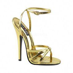 c5138b6e061 Women s Devious Domina 108 Ankle-Strap Sandal - Gold Metallic Polyurethane  Sandals  Stilettoheels