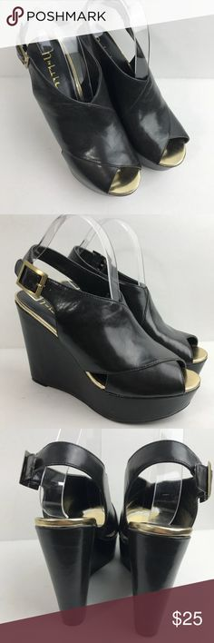 N by Nicole Black Gold Open Toe Wedge Sandals N by Nicole Black Open Toe Wedge Platform Sandals 	•	Womens Size 9 M  	•	Peep Toe 	•	Adjustable buckle for perfect fit 	•	Gold Accent Nicole Shoes Wedges