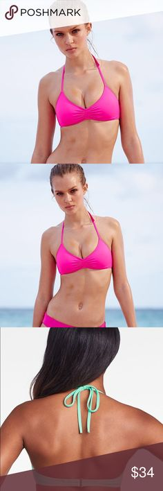 Neon Pink Victoria Secret Surf Bralette Bikini Top Note: One size smaller than tag! Ordered off line @ full price. Since its from VS online, it does NOT have a price tag but has the packaging to verify its brand new in package/tag. Victoria's Secret Swim Bikinis