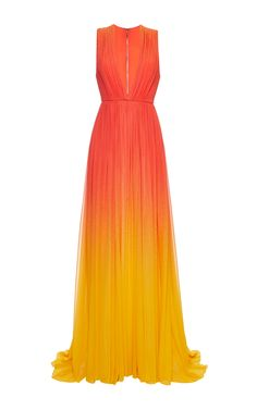 Red Degrade Silk Georgette Dress by Elie Saab for Preorder on Moda Operandi Source by AdrienneMoench prom dress sunset Orange Dress, Beach Dresses, Formal Dresses, Hawaiian Dresses, Elie Saab, Stylish Dresses, Fashion Dresses, Pink Lila, Party Dresses