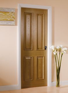 victorian 4 flat panel solid oak door