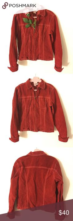 Genuine Suede Leather Zip Up Jacket. Red. Medium. Coldwater Creek's Genuine Suede Leather Zip Up Jacket. Red. Medium. Good Used Condition. No pocket. Minor spots on pic 3 and 4 on the bottom. Not really noticeable. #vintage #retro #suede #leather Coldwater Creek Jackets & Coats
