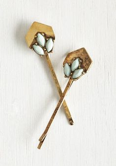 I've Sheen It All Hair Pin Set. Youve accessorized with your flair share of pins, but none as enchanting as this gold, ModCloth-exclusive set! #mint #modcloth
