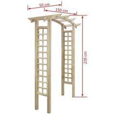 vidaXL Arche de jardin en bois avec treillis 150 x 50 220 cm