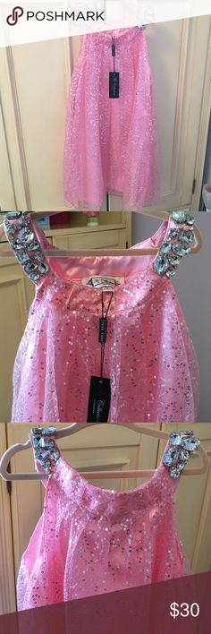 SaraSara pink dress Adorned with sequins and beautiful crystals on the straps (but the dress is lined, so it isn't itchy--kids can be so particular about that). Brand new by Sara Sara. Nothing wrong with it forgot about it in the closet and my girl needs room for clothes! Sara Sara Dresses Formal