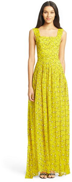 DVF Lillie Pleated Chiffon Gown #yellow