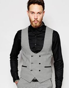 Image 1 ofNoose & Monkey Mini Check Double Breasted Waistcoat In Super Skinny Fit