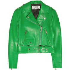 Acne Studios Mape cropped leather jacket (15 135 UAH) ❤ liked on Polyvore featuring outerwear, jackets, green, leather jackets, leather, leaf green, genuine leather jacket, green cropped jacket, leather lapel jacket and green jacket