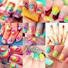 Colourful/rainbow nails