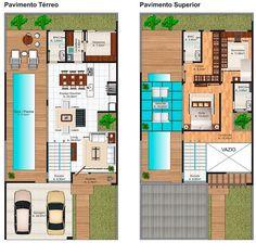 Plano de moderna casa de dos pisos con 204 m2