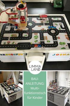Hier findet ihr eine Bauanleitung für einen Multifunktionstisch für Kinder, den ihr ganz einfach aus zwei IKEA KALLAX Regalen und Limmaland Klebefolien selber bauen könnt. Eine schöner IKEA Hack und eine tolle Idee!