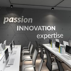 Apply this Passion, Innovation, Expertise - Office Wall Decor in any flat surface. If you are looking for a piece of art in your office walls Passion, Innovation, Expertise - Office Wall Decor is the perfect choice. Office Wall Design, Office Mural, Corporate Office Design, Workspace Design, Office Wall Decor, Office Walls, Office Interior Design, Office Interiors, Home Interior