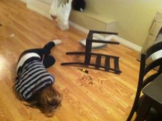 """IKEA fail. (not MY cousin), photo caption: """"My cousin, ashamed after building a chair from IKEA"""""""