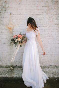 Indie Wedding Dress with Lace Illusion Sweetheart Neckline, Chiffon Skirt, and Damask Eyelash Lace Cap Sleeves