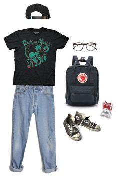 """""""Rick N morty"""" by aliennbby on Polyvore featuring Levi's, Fjällräven, Converse, Illesteva and King Apparel"""