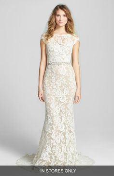 Reem Acra Embroidered Waist Lace Column Gown #nordstromwedding #reemacrawedding #wedding #weddingdress