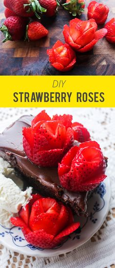 A quick DIY tutorial on how to make strawberries into roses.