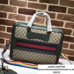 da8dd480956 Gucci GG Supreme Briefcase with Web 484663 Green Fall Winter 2017     Real  Bag Sale